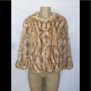 NWT Zara Knit Sz Small Light Brown Faux Fur Jacket